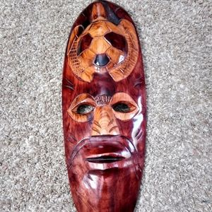 Hand Carved Wooden Mask Tribal Turtle Mahogany